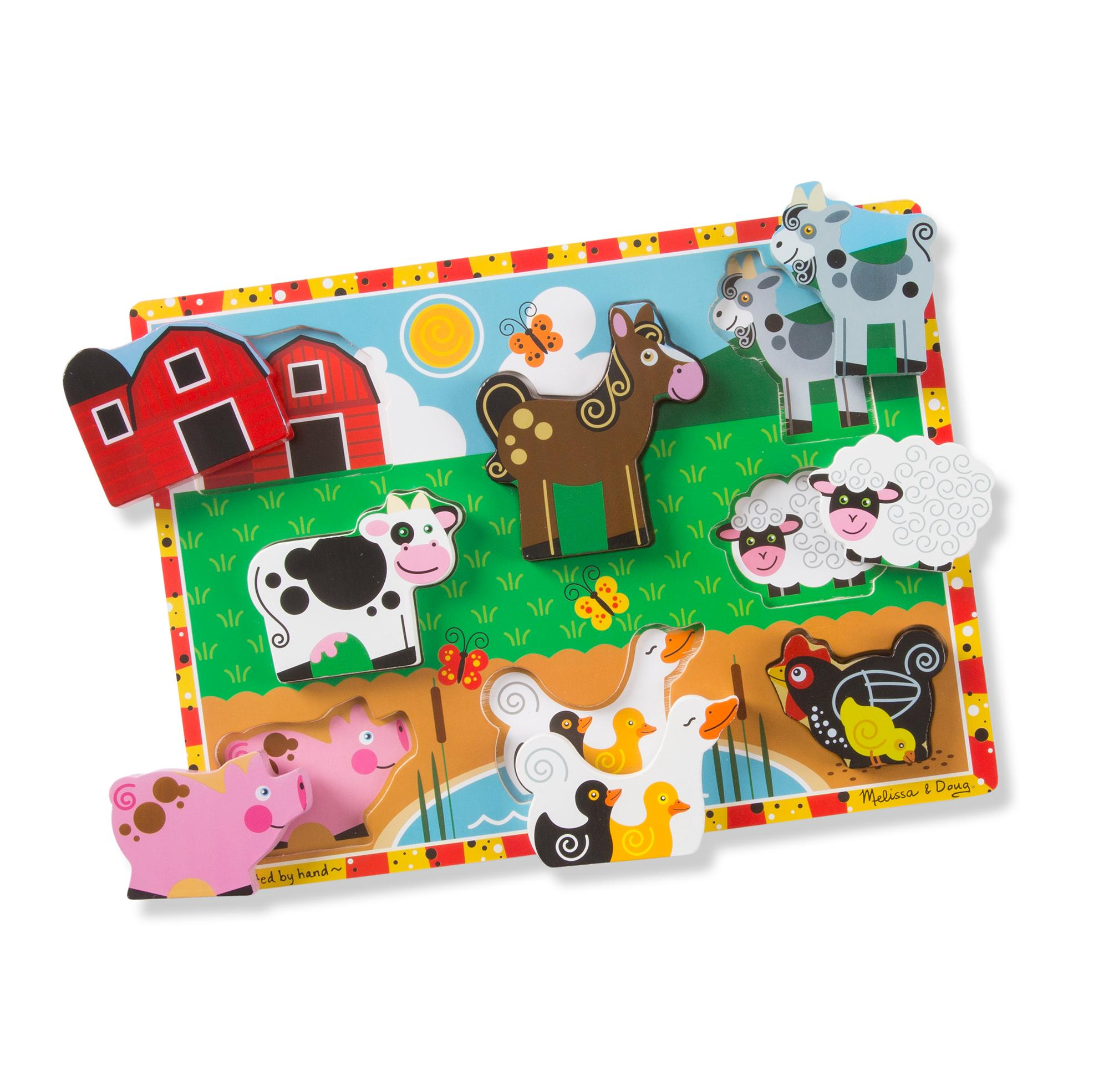 Amazon Melissa & Doug Farm Wooden Chunky Puzzle 8 pcs