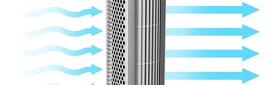 Seville Classics ultraslimine tower standing home tall plastic silver gray strong air move room fan