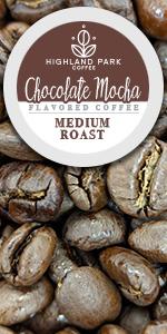 Highland Park Coffee Single Serve Keurig K cup pod Chocolate Mocha flavored medium roast  Arabica