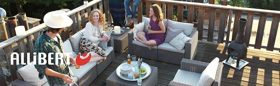 Allibert Lounge Sessel Garten, California Sessel 2 Stück, Graue Kunststoff Lounge Sessel
