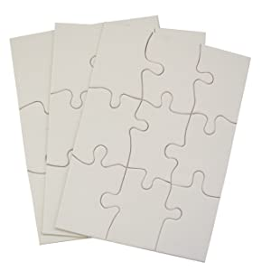 Bonarty 100pcs DIY Wooden Puzzle Jigsaw Blank Pieces Shapes for Kid Painting Stain