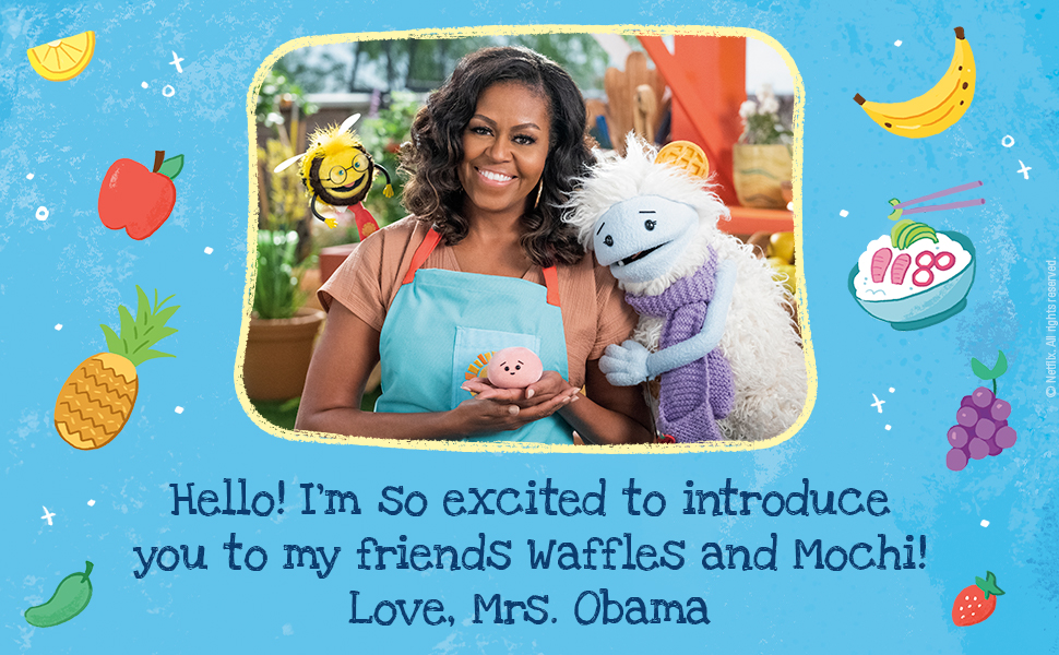 Michelle Obama and words: I'm so excited to introduce my friends Waffles and Mochi! Love, Mrs. Obama
