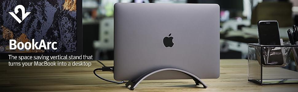 BookArc, Twelve South, small space, Space Grey, Aluminum, MacBook, USB-C, 12 South