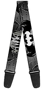 Batman Shield Gray Grey Black White Logo Bat Logo Acoustic Electric Guitar Strap