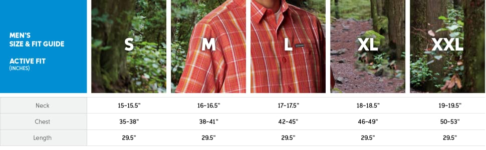 Men's Shirt Active cut size and fit guide
