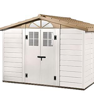 GARDIUN Caseta de Resina Tuscany EVO 280 Blanco/Beige 309x261x225 cm - KSP38250: Amazon.es: Jardín