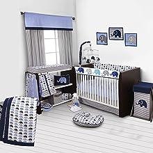 Amazon Com Elephants Blue Grey 10 Pc Crib Set Including