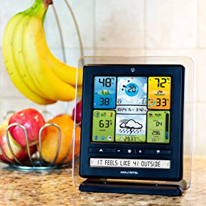 weather station, weather station with color display, indoor temperature and humidity, thermometer