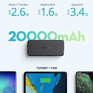 RAVPower モバイルバッテリー 20000mAh