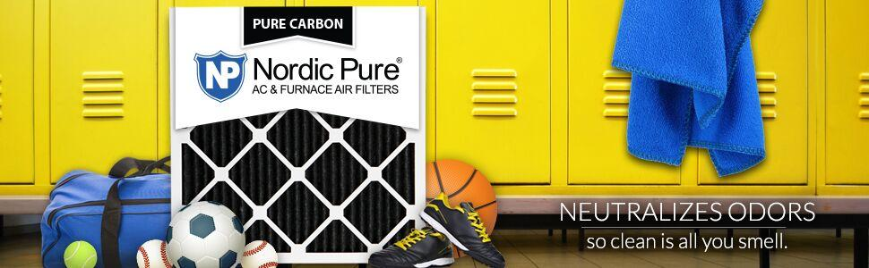 18x20x1M7+C 2 Piece Nordic Pure 18x20x1 MERV 7 Plus Carbon Pleated AC Furnace Air Filters
