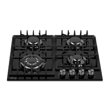 Empava 24 in. Gas Stove Cooktop 4 Italy Sabaf Sealed Burners NG/LPG Convertible Tempered Glass Black