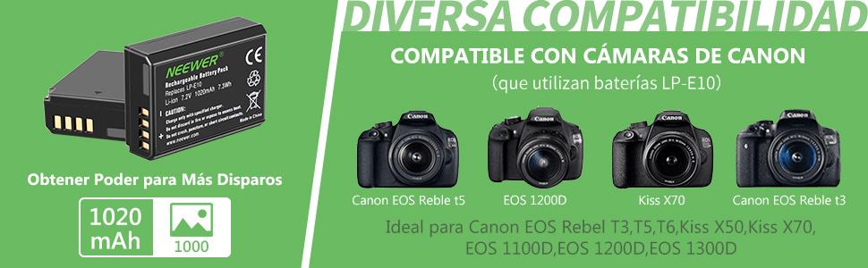 Neewer Batería LP-E10 Cargador Set para Canon EOS Rebel T3 T5 T6 ...