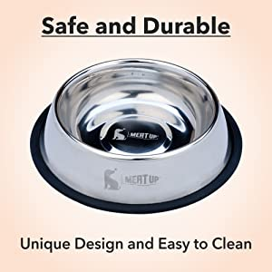 Meat Up Stainless Steel Dog Feeding Bowl Medium (Buy 1 Get 1 Free), 700ml