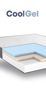 Queen 8 Inch cool gel memory foam mattress, gel mattress queen, best firm cool gel mattress