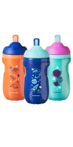 active straw cup water bottle insulated core sweat proof space stars astronaut unisex baby toddler