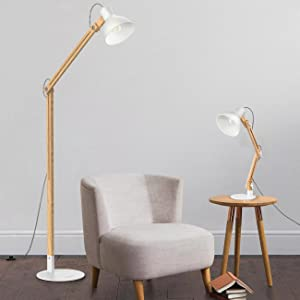 Tomons wood floor lamp adjustable head reading light nature rubber classic wood style floor lamp aloadofball Choice Image