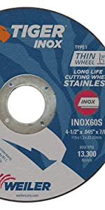 Weiler Tiger 58100 INOX Cut Off Wheel for Stainless Steel