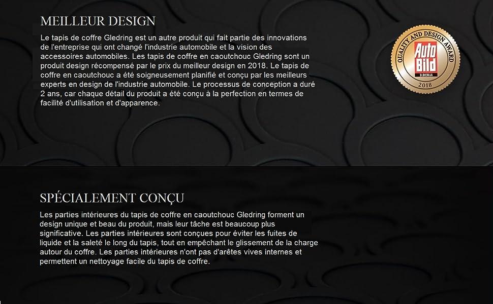 Noir II 2016 Gledring 1652 Coquille Coffre-Arri/ère Rubbasol Caoutchouc