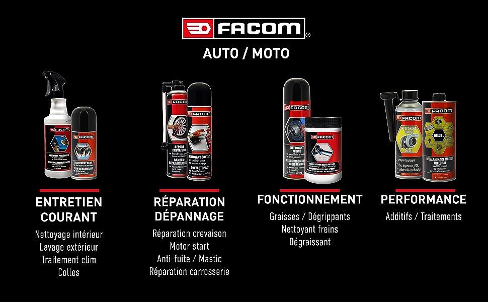 produit entretien voiture facom; repare crevaison;motor start;additifs moteur;nettoyant moteur;CT