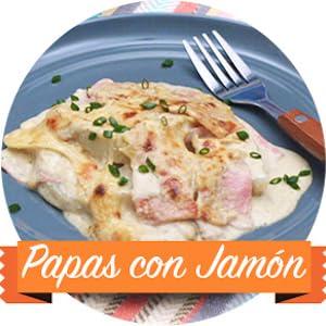 LA MORENA, PAPAS CON JAMON, SALSA