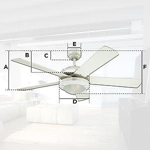 Ceiling fan dimensions