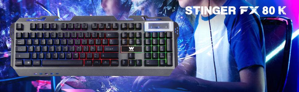 Woxter Stinger FX 80 K - Teclado Gaming retroiluminado con Base metálica Muy Resistente, 114 Teclas Anti-ghosting, QWERTY y conexión USB 2.0. Ideal ...