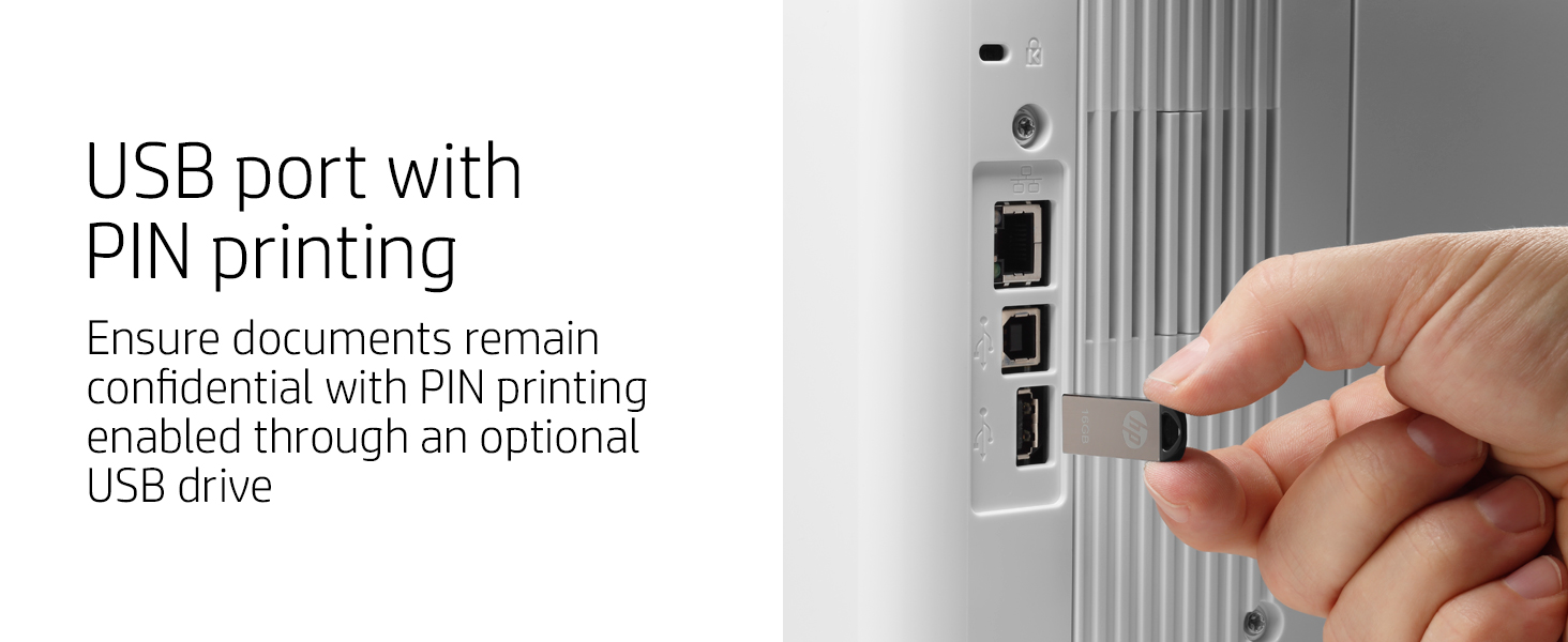 usb port pin printing confidential documents laserjet pro printer