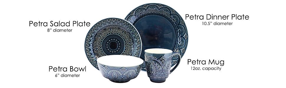 dark blue embossed round stoneware dinnerware dish set for 4 microwave dishwasher safe