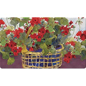 colorful;summer;flower;floral;basket;red;geraniums;potted;bloom