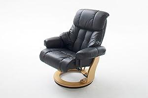 Robas Lund silla con crema de cuero Calgrey otomana Natural / crema y nogal / negro nuez naturales / negro / marrón 90 x 91 a 122 x 89 a 104 cm ...