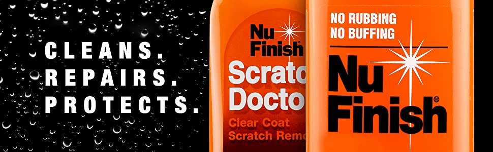 Cleans. Repairs. Protects. No Rubbing. NO Buffing. Nu Finish. Scratch Doctor