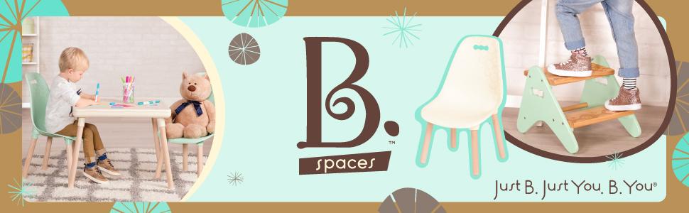 B Toys - Juego de muebles para niños - 1 mesa de manualidades y 2 sillas para niños con patas de madera natural