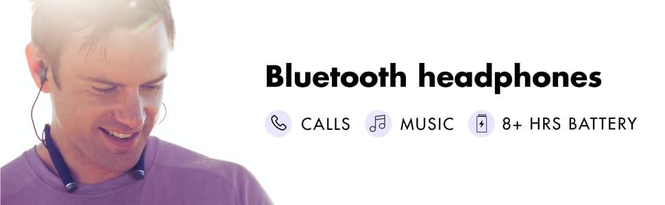 Bluetooth Headphones Calls Music 8+ Hours of Battery Life