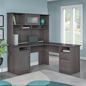 Amazon Com Cabot L Shaped Desk With Hutch In Heather Gray