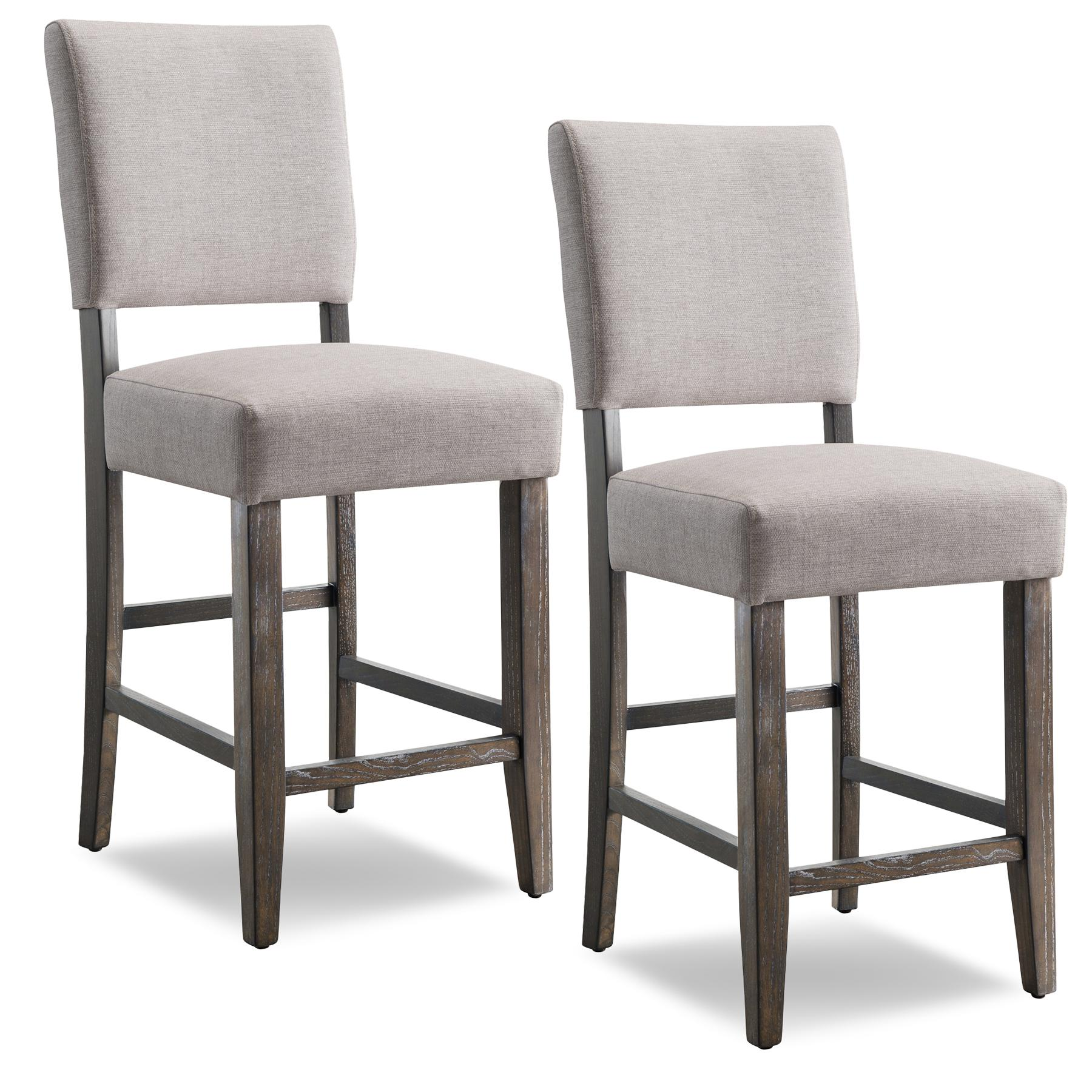 Leick 10086bb Hg Wood Upholstered Back Counter Height Barstool Heather Grey Seat Set Of 2