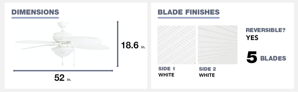 fan dimensions, blade finish, white, 5 blades, reversible, yes, 52 in, 18.6 in