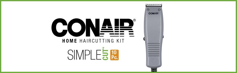 Conair Home Haircutting Kit, Simple Cut, 10 piece haircut kit, men's haircuts at home, home clippers