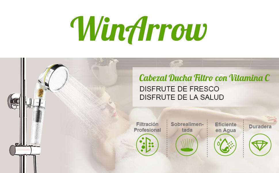 WinArrow Cabezal Ducha Filtro, Vitamina C Iones KDF55 Alcachofa Ducha Filtro Elimina Cloro y Flúor, Suaviza el Agua con Panel Microporoso 304 Inox de 80mm 200% de Alta Presión y 40% de