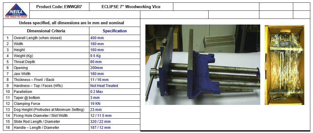 Eclipse Quick Release Woodworking Vise Gray Cast Iron 9 Size