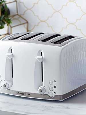 Russell Hobbs 26070 4 Slice Toaster-Contemporary Honeycomb Design, Extra Wide Slots,High Lift,White