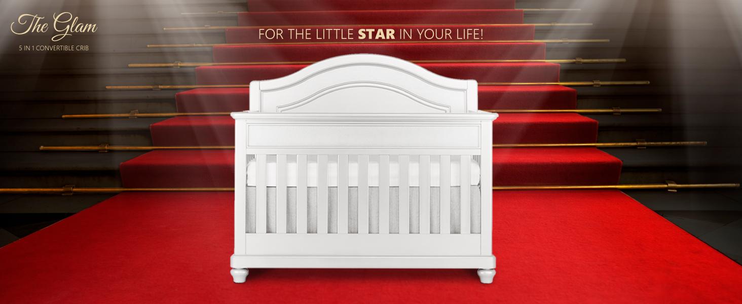 convertible cribs, glam convertible crib, evolur glam crib, baby crib, luxury crib, cribs for babies