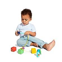 solid wooden block set building blocks threader shape sorter puzzle learning educational toy STEM