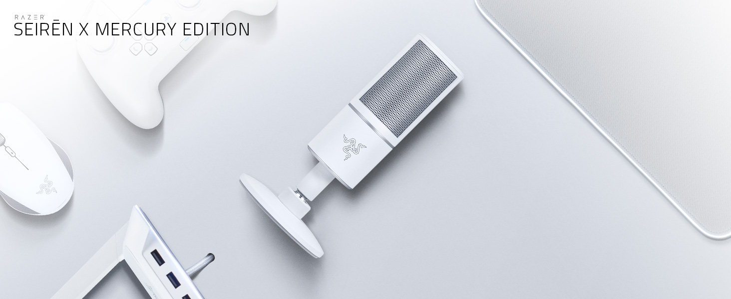Amazon.com: Razer Seiren X USB Streaming Microphone: Professional Grade - Built-in Shock Mount - Supercardiod Pick-Up Pattern - Anodized Aluminum - Mercury White, one Size: Computers & Accessories