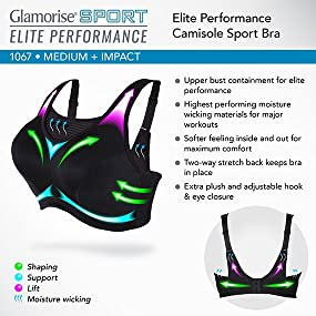 417b6e0a36 Glamorise Women s Elite Performance No-Bounce Cami Wirefree Sports ...