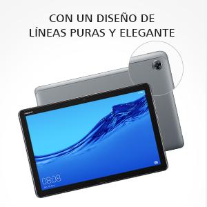 una tablet elegantemente diseñada con cuerpo metálico y borde de vidrio curvado 2.5D