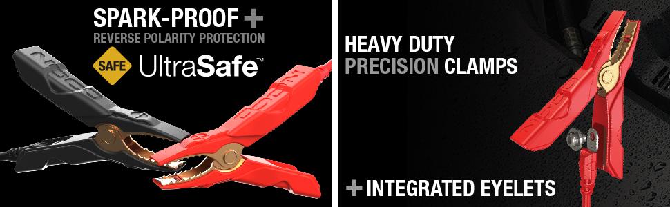 safe, precision battery clamps, needle nose, low profile, ultrasafe, safe jump starter, spark proof