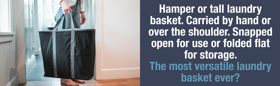 hamper or tall laundry basket, can be carried by hand or over the shoulder