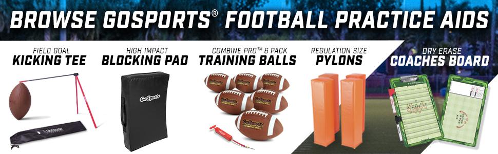 gosports football season practice training aid coach kicking tee camp footballs pack pylons bownet