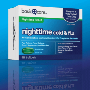 basic care nighttime cold & flu softgels package