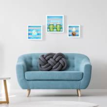3 Unidades Relaxdays Cubos Flotantes de Colores 17x30x30 cm Blanco y Azul Madera MDF